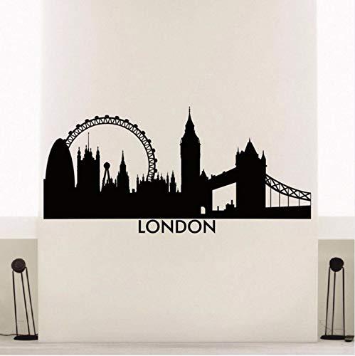Lvabc London Skyline Wandaufkleber Vinyl Stadt Wandtattoo London Skyline Stadt Silhouette Wandkunst Wandhauptdekoration Poster 57X27 Cm