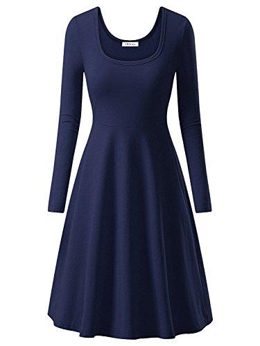 OhSeaya Damen Einfache Beiläufiges Langarm Basic Kleider Falten Stretch Freizeitkleid Knielang BKS557-NBL