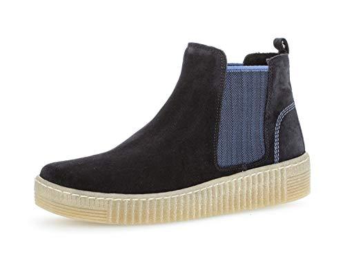 Gabor Damen Chelsea Boots 33.731, Frauen Stiefelette/Röhrli,Stiefel,Halbstiefel,Bootie,Schlupfstiefel,flach,Pazifik/blau(Natur,38 EU / 5 UK - Flache Booties