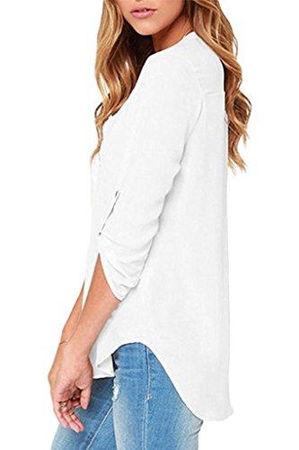 ASCHOEN Damen beiläufige Chiffon-Damen V-Ausschnitt mit Bündchen Sexy Bluse Tops Weiß