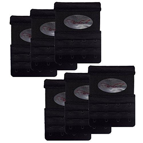 DoHope Bra Extender Elastisch BH-Verlängerung für BHs mit 4 Haken in 3 Reihen Damen BH-Erweiterung (weiss, schwarz, nackt) (6 Stücke schwarz)