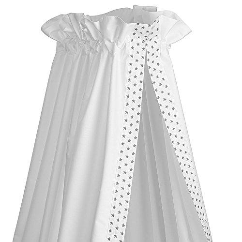 Sugarapple Baby Betthimmel für Babybetten oder Kinderbetten 150 cm Höhe x 200 cm Länge, Babybett Babyhimmel Vorhang aus 100% Baumwolle, Sterne grau