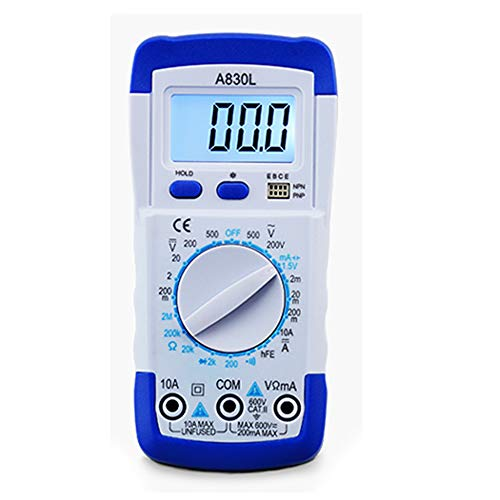UINK LCD-Digital-Multimeter, Tragbare DC AC Spannungsdiode Freguency Multitester, Hand Volt Tester Test Strom Ohmmeter Mit Test Lead,Weiß