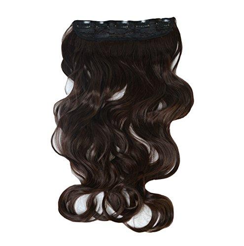 uberfun Extensions capillaires à clips Tête entière Imitation cheveux naturels Qualité supérieure Légèrement ondulés Lavables et résistant au fer à lisser Châtain foncé 55 cm