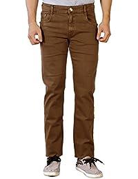 Par Excellence Men's Brown Relaxed Fit Jeans