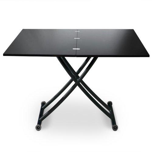 Menzzo B2219S Contemporain Carrera Table Basse Relevable Bois/Métal Noir Carbone 57/100 x 100/114,2 x 39/76,3 cm