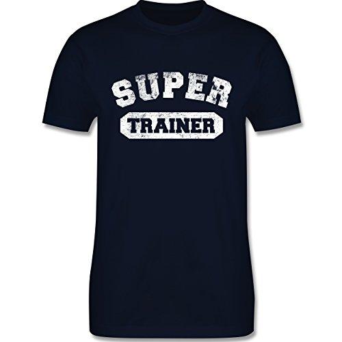 Fußball - Super Trainer Vintage - M - Navy Blau - L190 - Herren T-Shirt Rundhals (Trainer Navy)