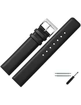 MARBURGER Uhrenarmband 18mm Leder Schwarz - Rindsleder - Inkl. Zubehör - Ersatzarmband, Schließe Silber - 6231810000120