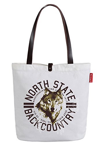 So'each Women's Animal Wolf Letters Canvas Shopper Top Handle Tote Shoulder Bag White