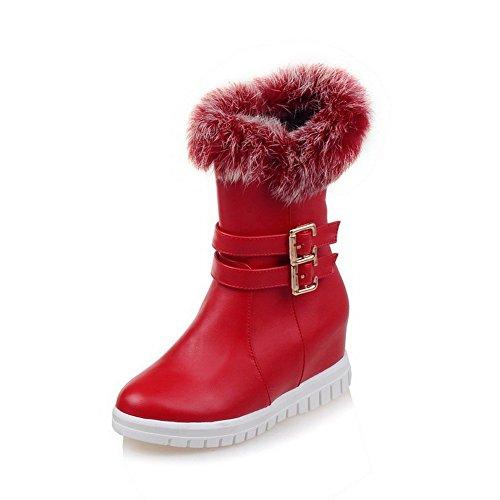 VogueZone009 Damen Rund Zehe Mittler Absatz Weiches Material Niedrig-Spitze Rein Stiefel Rot