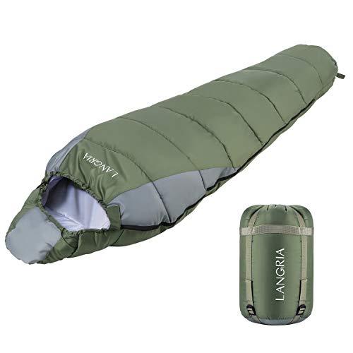 LANGRIA Saco de Dormir Ligero de 3 Estaciones con Saco de Compresión, Sacos de Dormir Tipo Momia Compactos para Adultos, Interior/Exterior para el Camping, Festivales, Senderismo y Trekking (Verde)