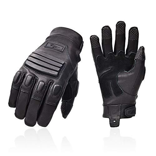 Vgo 2Pair Guanti da moto premium da uomo in pelle di capra con dita complete per escursionismo, campeggio, guida ATV, outdoor (taglia L, colore nero, GA5122)
