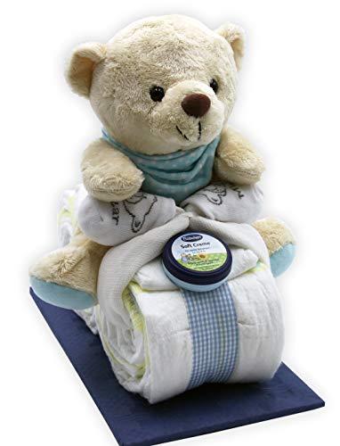 Windeltorte Windelmotorrad blau für Jungen - mit Teddybär / Das perfekte Geschenk zur Geburt oder Taufe + gratis Grußkärtchen