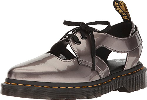 Dr. Martens Women's Genna Cut Out Sandals, Grey Spectra Patent Leather, 4 M UK, 6 M US (Patent-oxford-schuhe Womens)