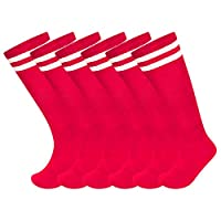 3 Pack Unisex Knee High Striped Sports Football/Rugby/Soccer/Hockey Tube Socks for Men, Women, Boys & Girls