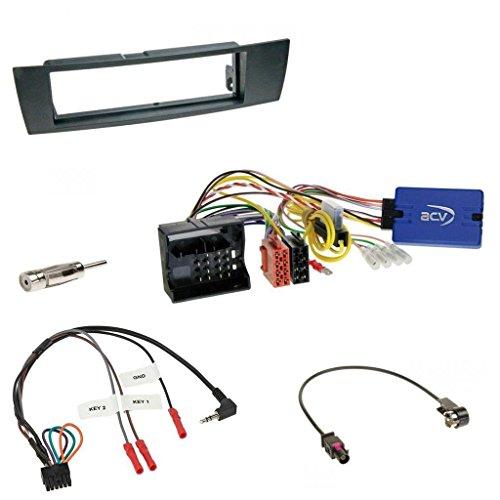 Einbauset mit Lenkradadapter für DIN Autoradio in BMW 1er (E87), 3er (E90-3), X1 (E84), Z4 (E89)