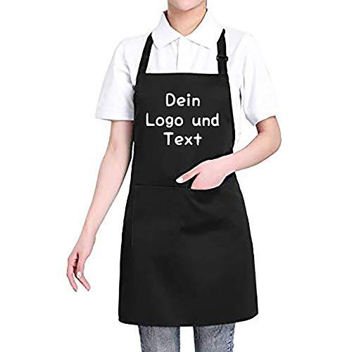 Hardon Custom Schürze mit Motiv Namen Oder Text - Kochschürze mit 2 Taschen - Küchenschürze für Frauen Männer Chef - Grillschürze verstellbarem Nackenband(Schwarz)