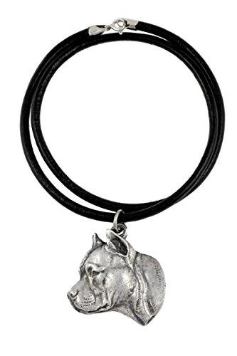 American Staffordshire Terrier (no collar), Silber gepunzt 925, Hund, Silber beschichtet Halskette, Limitierte Edition, Art Dog -