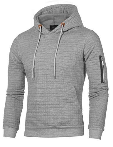 HEMOON Herren Kapuzenpullover Plaid Sweatjacke Pullover Hoodie Sweatshirt Grau 1 Large