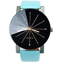 WINWINTOM 2016 Men Quartz Dial Clock Leather Wrist Watch Round Case-Blue