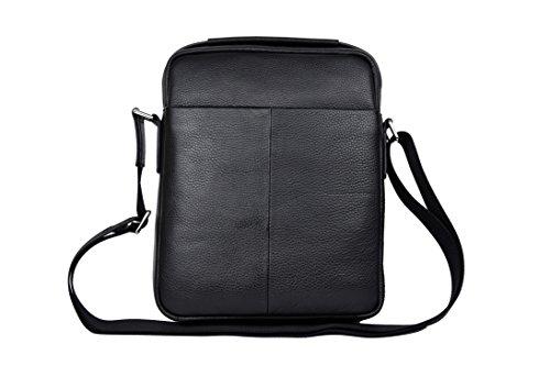 Zerimar Bolso Bandolera de Cuero para Hombre Bolso de Hombro con gran capacidad Piel suave Color negro Medidas: 30x24x8 cms.