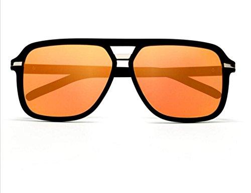 Quadratische Sonnenbrille Runde Gesicht Koreanische Version Männer Und Frauen Helle Farbe Reflektierende Rahmen Sonnenbrille Metall,A3