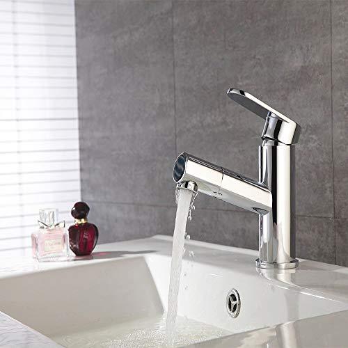 Fandaucy Wasserhahn mit ausziehbarem Brause Waschbeckenarmatur Mischbatterie Badarmatur Waschtischarmatur Einhebelmischer für Badzimmer und Küche, Verchromung