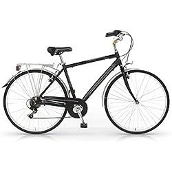 """MBM Central - Bicicleta de paseo para hombre de 6 velocidades, cuadro de aluminio 606 talla 50, frenos V-Brake, ruedas de 28"""", color negro"""