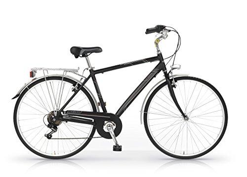 MBM  Central – Bicicleta de paseo para hombre de 6 velocidades, cuadro de aluminio 606 talla 50, frenos V-Brake, ruedas de 28″, color negro