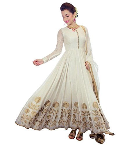 FenaPrime Women\'s Off-White Net Anarkali Dress Material GFP1152