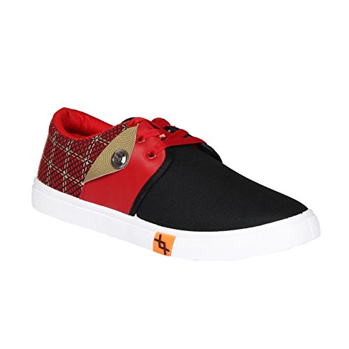 Ariction Red and black canvas Mens shoes