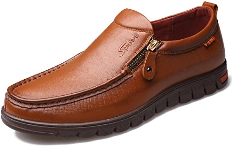 GRRONG Zapatos De Cuero De Los Hombres Del Ocio Del Cuero Genuino Y Transpirable Negro Marrón Amarillo
