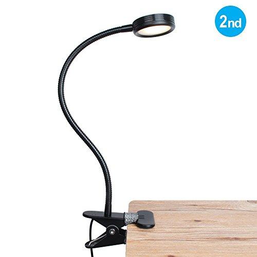 Eyocean Leselampe Buchlampe, Schreibtischlampe LED Büro Tischleuchte 3 Farb- und 9 Helligkeitsstufen dimmbar, Arbeitsplatzleuchten, Leselampe mit Klammer, USB 1.6 m Kabel,Inklusive CE Adapter - Drei-licht-post-lampe