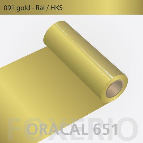 Orafol - Oracal 651 - 31cm Rolle - 5m (Laufmeter) - Gold / glanz, 091 - g - 31cm - 651_1 - 5m_5 - Autofolie / Möbelfolie / Küchenfolie