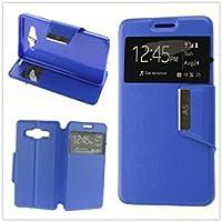 MISEMIYA - Coque Étui pour Samsung Galaxy A5 2016 (A510F) - Étui + Protecteur Verre Trempé, COVER-VIEW avec support,bleu