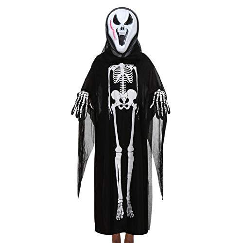(Kleinkind Jungen Mädchen Kinder Halloween Kleidung Dämon Knochendruck Cosplay Skelett Kostüm Mantel Umhang + Maske + Handschuhe Outfits Set (G))