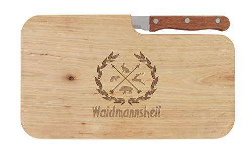 meinbecher Brotzeitbrett Jausenbrett Holz Erle Messer Waidmannsheil Geschenk Männer Frauen Jäger Schneidbrett Holz Geschenkidee für Ihn und Sie