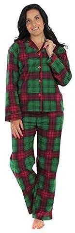 PajamaMania Women's Flannel Long Sleeve Pajamas, Green Plaid
