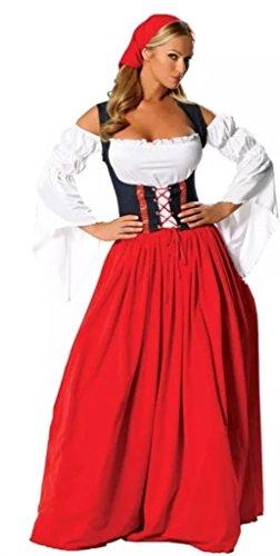 I-CURVES Womens Oktoberfest Deutsch Bier Festival Bier Maiden bayerischen Kostüm outfit Größe 38-40