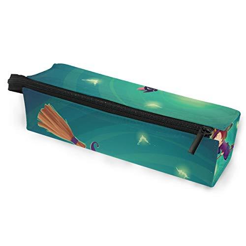 Pencil Bag Etui Etui Happy Halloween Muster Little Witch Flying Makeup Kosmetische Sonnenbrille für Mädchen Jungen Reiseschule