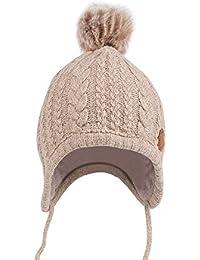 butterme niña gorro de punto invierno calentador Earflap Sombreros Gorras  Gorro pelo lana Pom Pom Beanie d42029e6d3fc