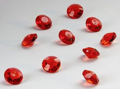 Lot de 100 diamants en acrylique pour décoration de table, Plastique, rouge