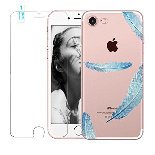 Coque iPhone 5/5S/SE avec film protecteur d'écran en verre trempé, Blossom01Ultra mince souple en gel TPU Coque de protection en silicone avec motif de plumes pour iPhone 5/5S/SE iPhone 5 / 5S / SE # #02