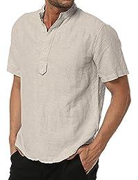 1c59fe54af Najia Symbol Hombre Casual 100% Lino Collar de Abuelo Manga Corta Camisa  Henley