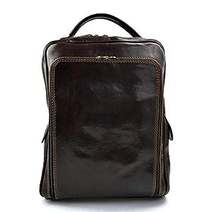Leder rucksack hüfttasche umhängetasche schultertasche tragetasche ledertasche seitentasche herren damen reisetasche made in Italy dunkelbraun