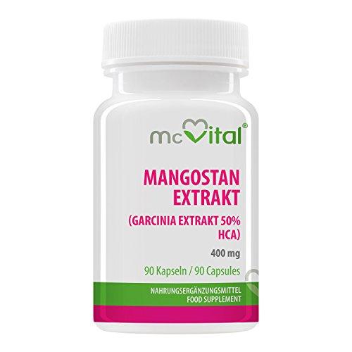Mangostan Extrakt (Garcinia Extrakt 50% HCA) - Natürlicher Fatburner - Effektiv und langanhaltend - 400 mg - 90 Kapseln