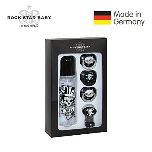 Preisvergleich Produktbild ROCK STAR BABY by Tico Torres Geschenkset für Babys ab 6 Monate - 5 teilig: 3 Schnuller, 1 Schnullerband, 1 Babyflasche 250 ml – Tattoo Pirat