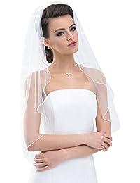 Schlichter Brautschleier Schleier mit Kurbelkante, einstufig aus Feintüll