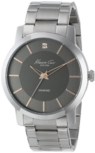 Kenneth Cole New York Men's KC9328 Rock Out Round Grey Dial Rose Gold Detail Diamond Watch