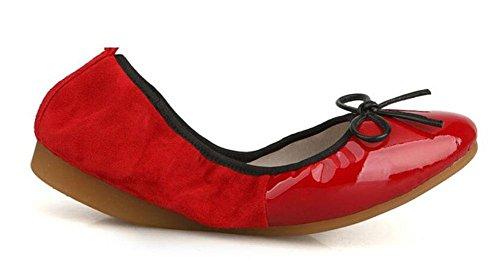 SHINIK Frauen Fold Up Ballett Pumps Leder Ei Rolls Sweet Bowknot Kampf Farbe Shallow Mund Single Schuhe Erbsen Schuhe Red